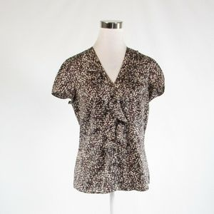 Dark brown ANN TAYLOR button down blouse 6